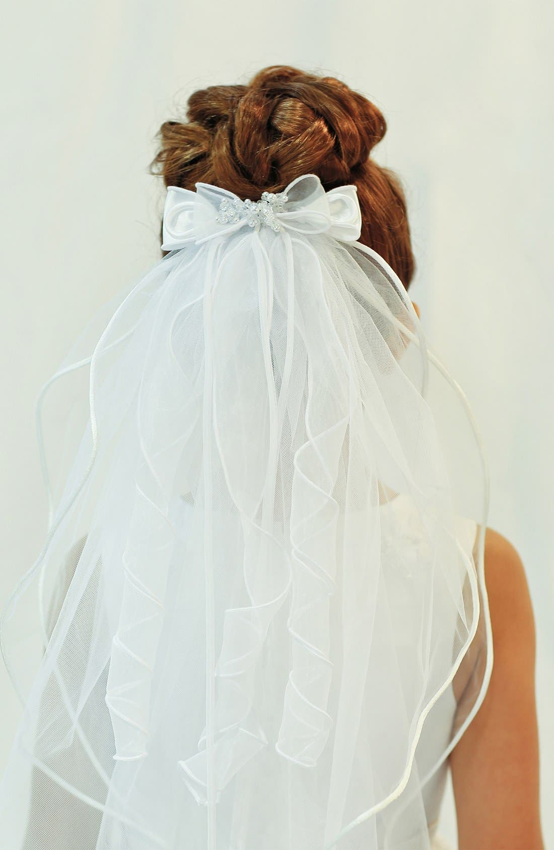 Alternate Image 5  - Lauren Marie Organza Bow Veil (Girls)