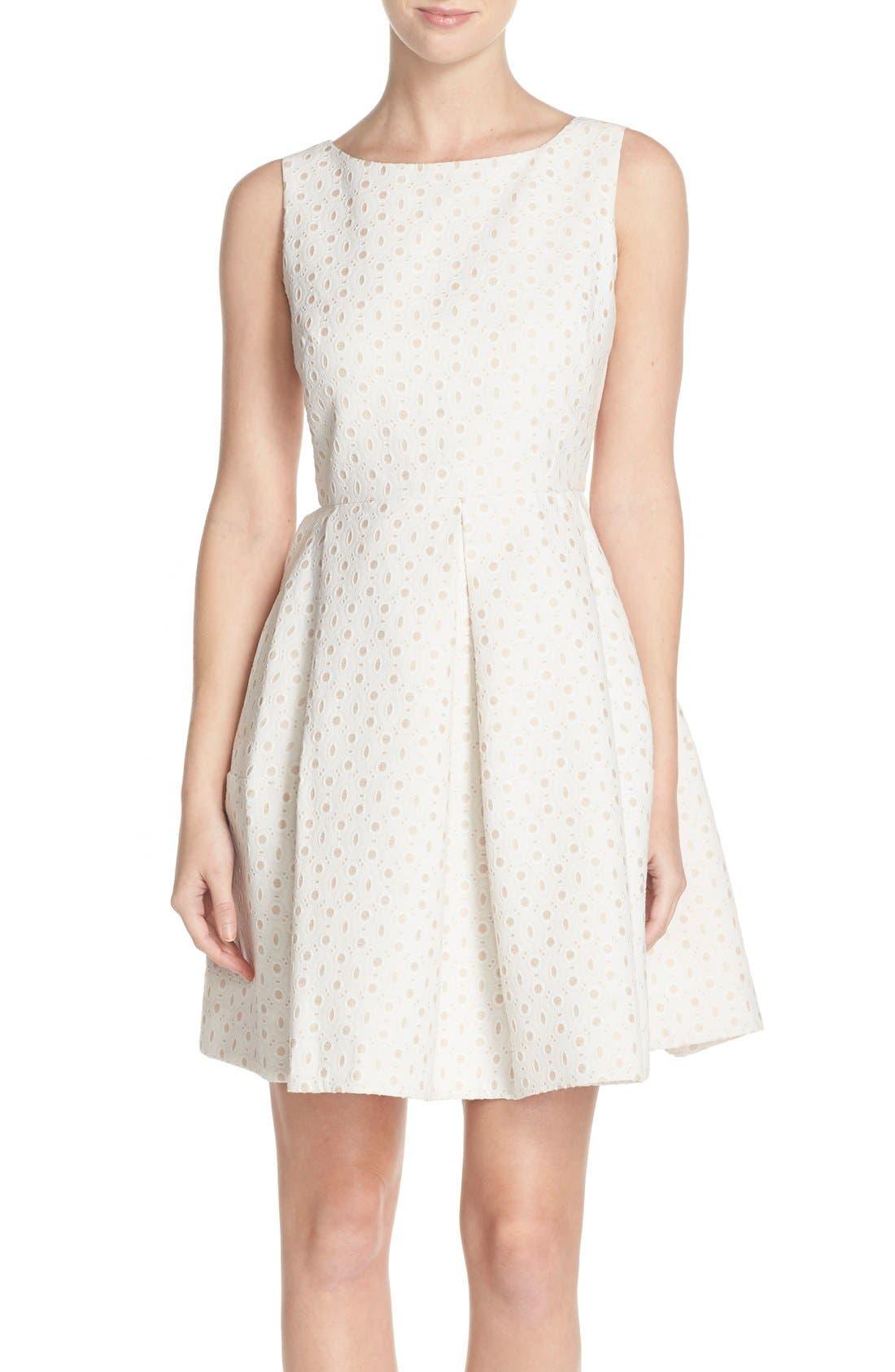 Alternate Image 1 Selected - Taylor Dresses Eyelet Fit & Flare Dress
