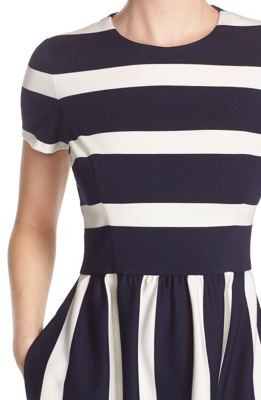 Alternate Image 5  - Eliza J Stripe Knit Fit & Flare Dress (Regular & Petite)