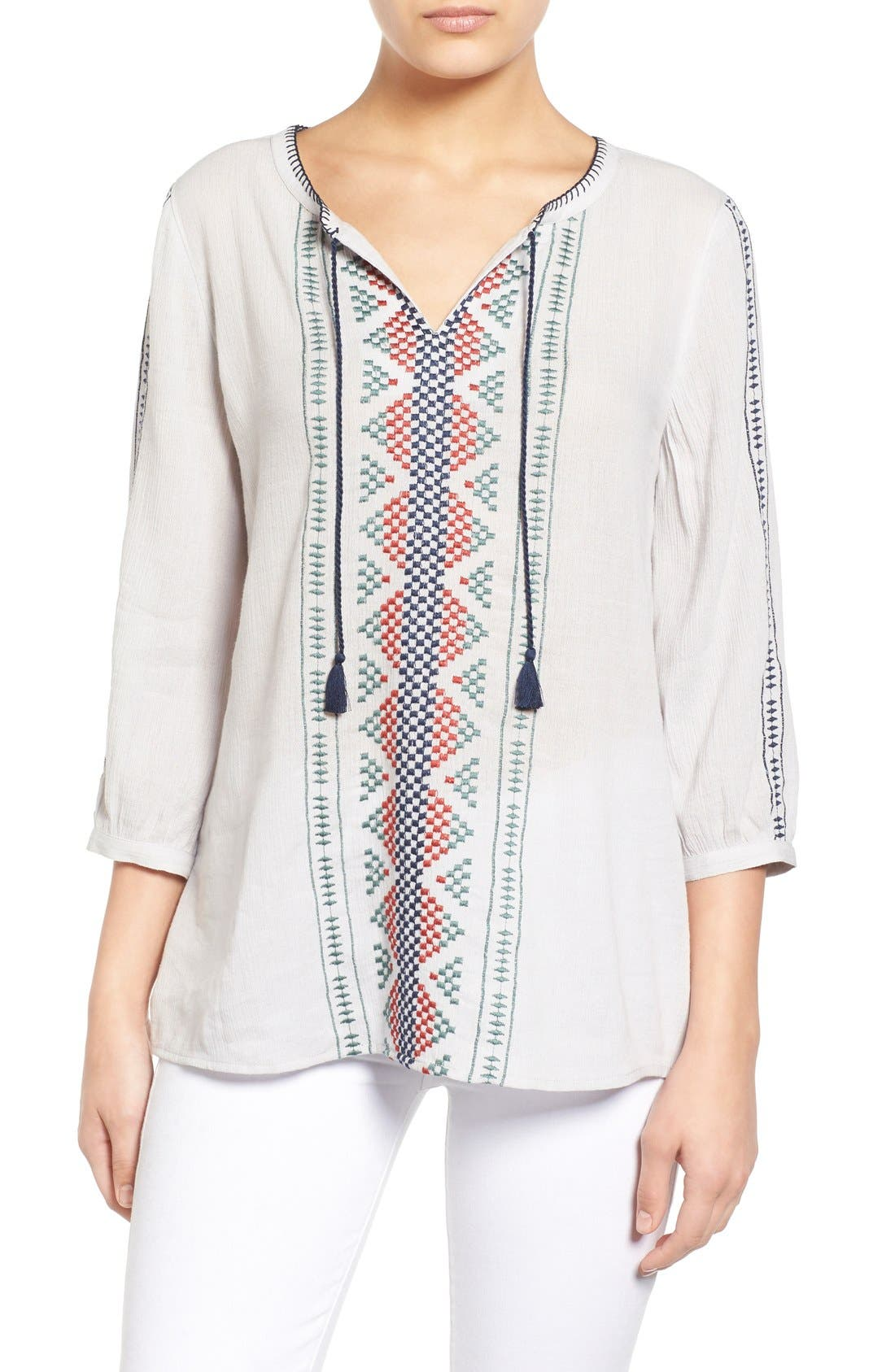 Main Image - Caslon® Embroidered Boho Blouse (Regular & Petite)