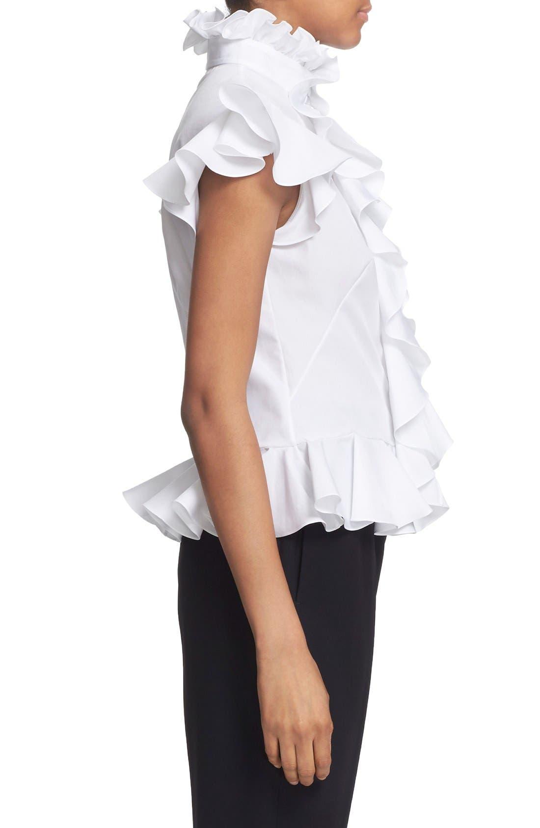 Alternate Image 4  - Alexander McQueen Cotton Poplin Ruffle Blouse