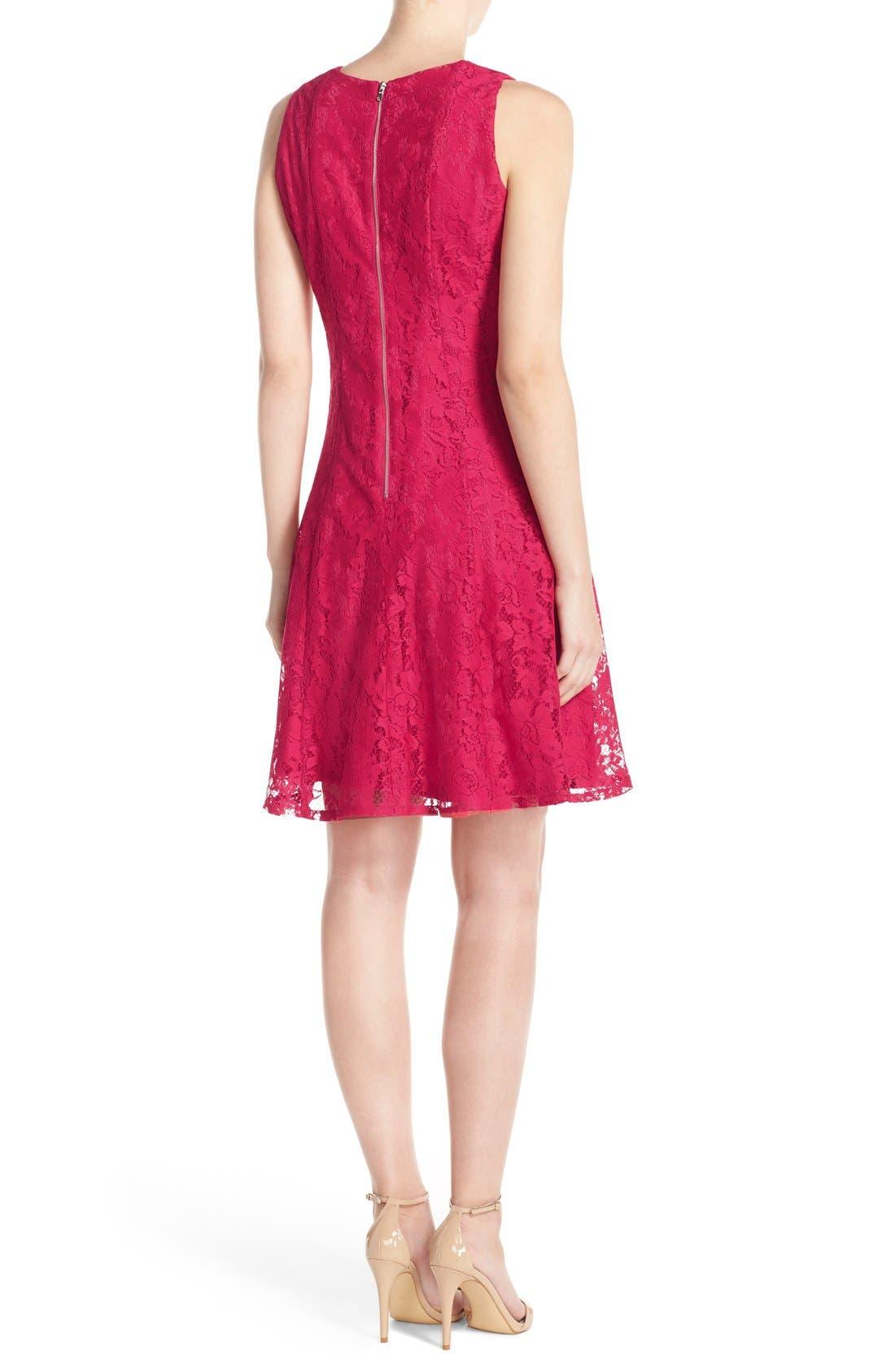 Alternate Image 2  - Gabby Skye Keyhole Neck Lace Fit & Flare Dress