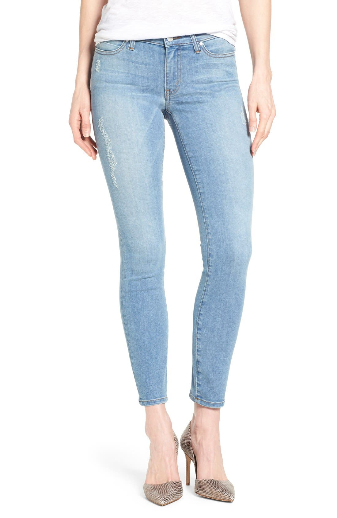 Alternate Image 1 Selected - Mavi Jeans 'Adriana' Distressed Stretch Skinny Ankle Jeans