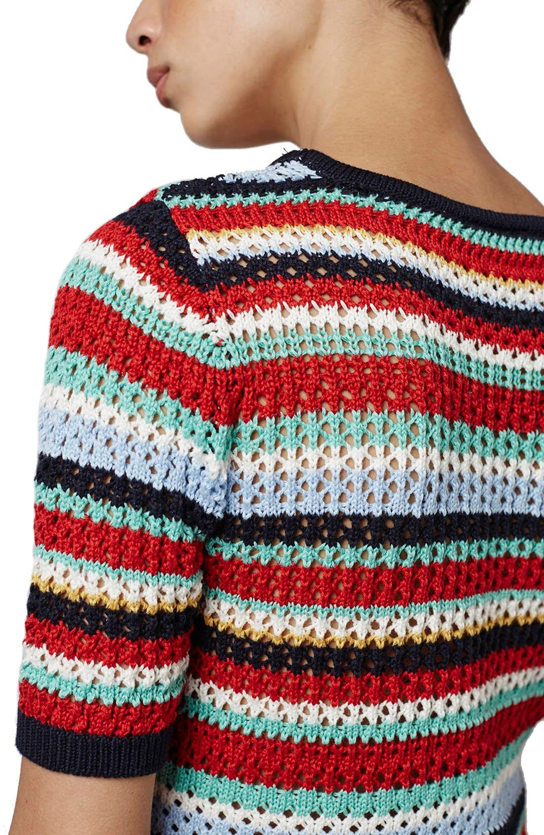 Alternate Image 5  - Topshop Multicolor Stripe Crochet Top