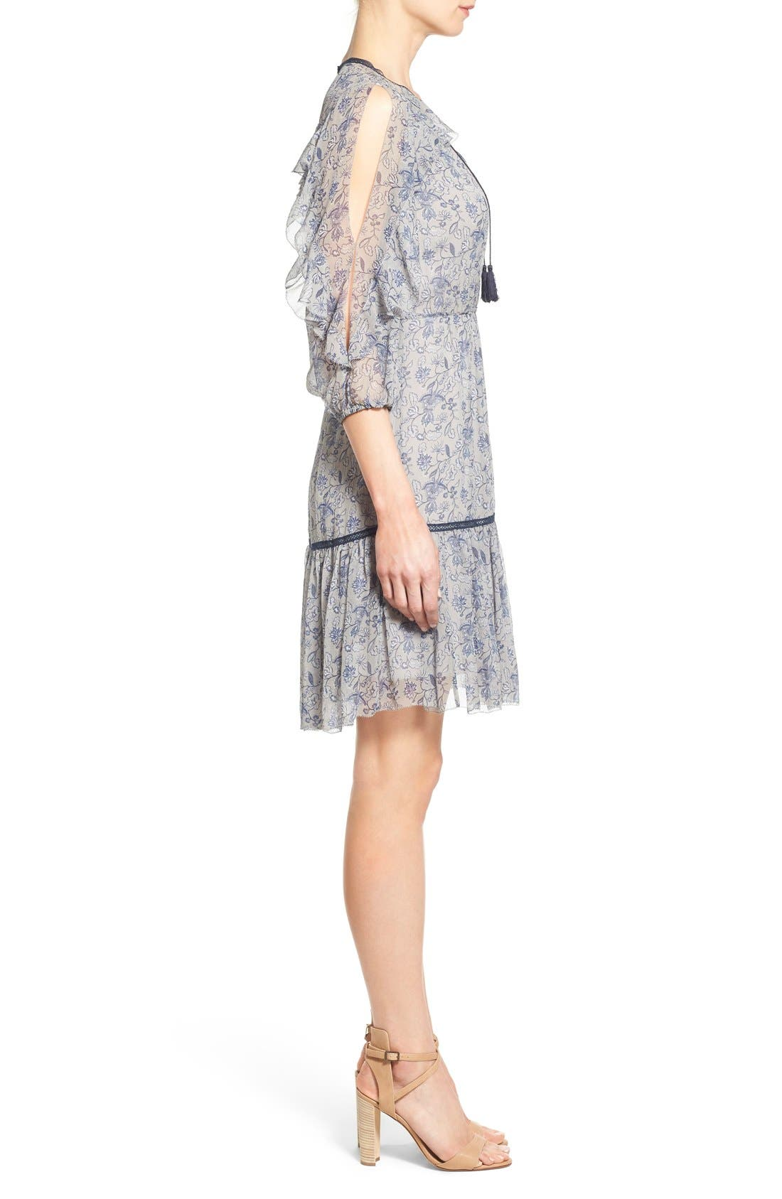 Alternate Image 3  - Elie Tahari 'Landon' Ruffle Trim A-Line Floral Print Silk Dress