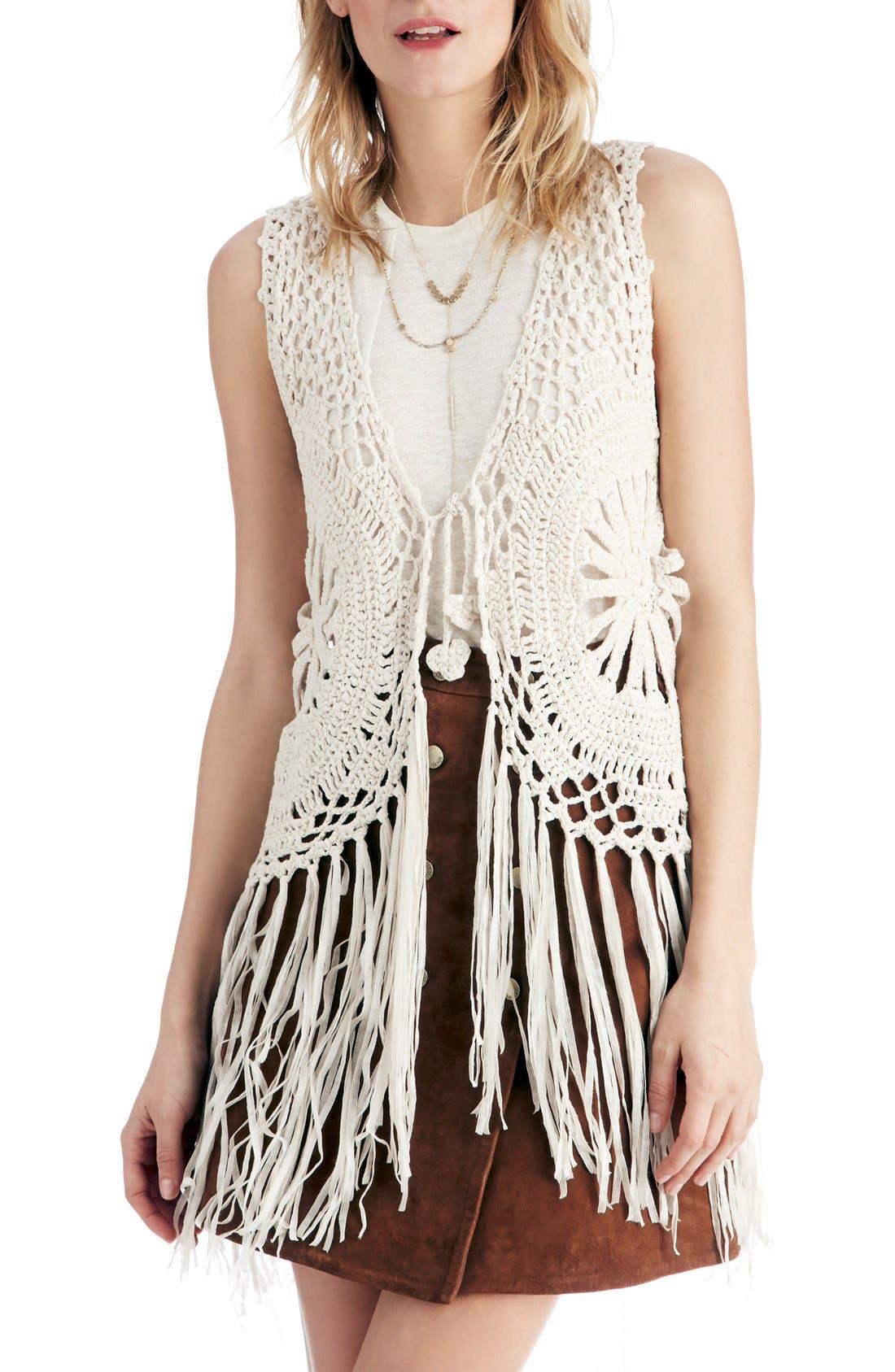 Main Image - Sole Society Fringe Crochet Vest
