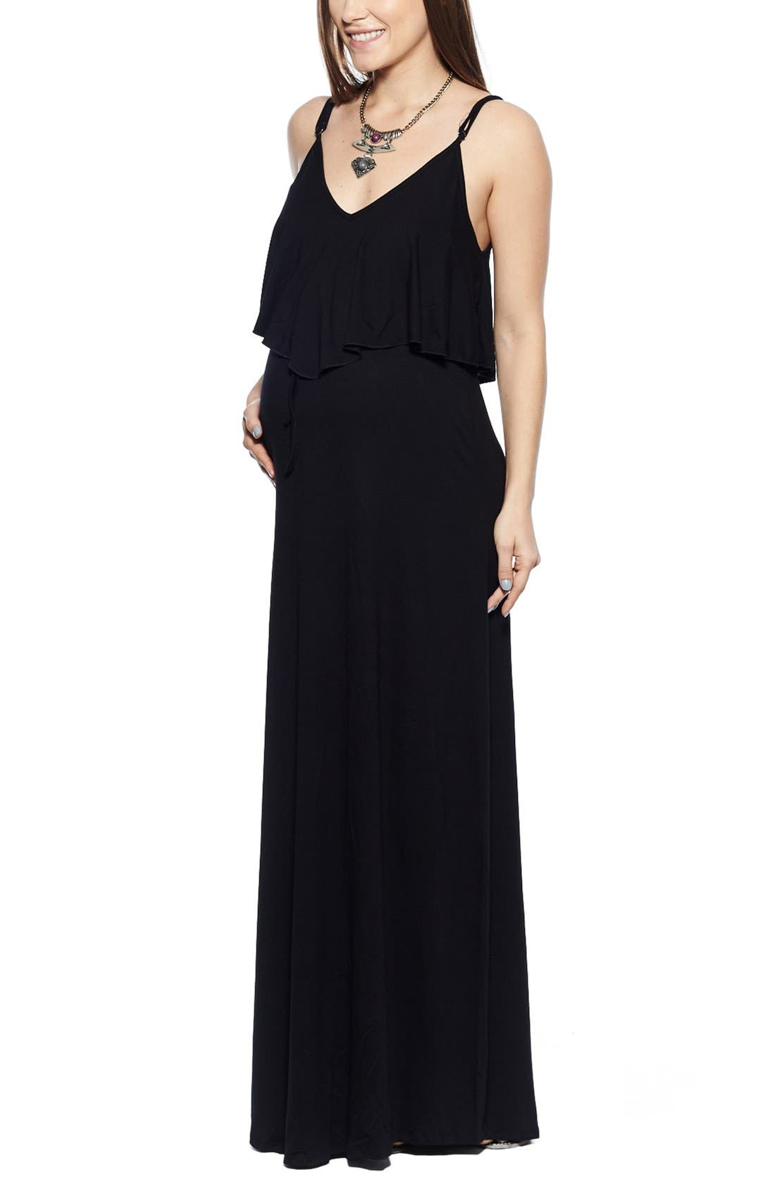 Imanimo Maxi Ruffle Maternity Dress