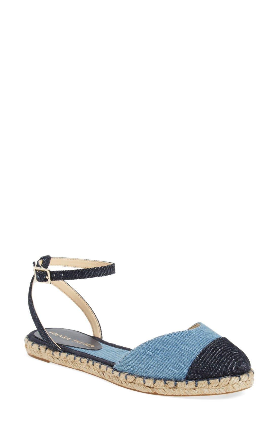 Main Image - Ivanka Trump 'Rion' Ankle Strap Espadrille Flat (Women)