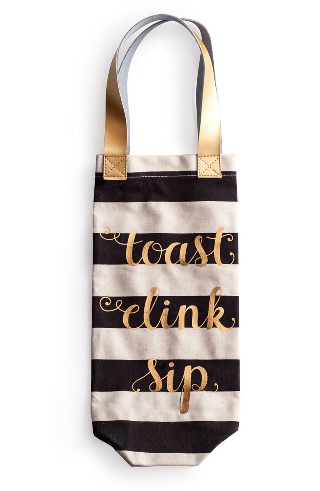 Rosanna 'Toast Clink Sip' Canvas Wine Tote