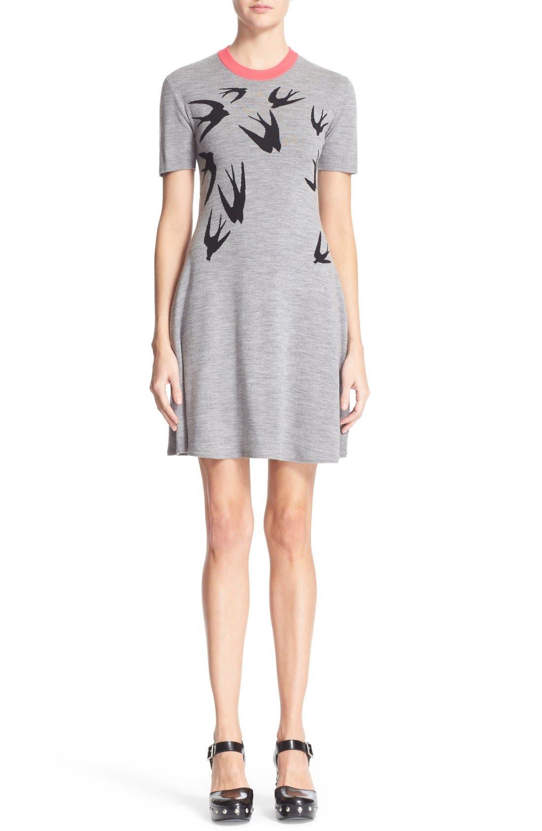 MCQ ALEXANDER MCQUEEN Swallow Pattern Wool Dress