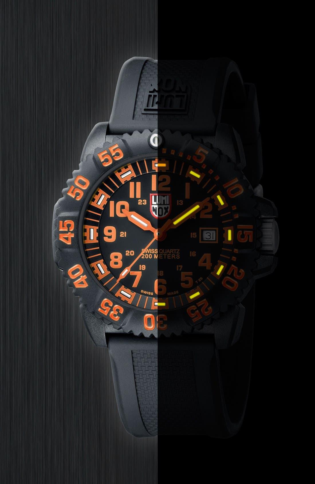 Alternate Image 4  - Luminox 'Sea - Navy SEAL Colormark' Silicone Strap Watch, 43mm