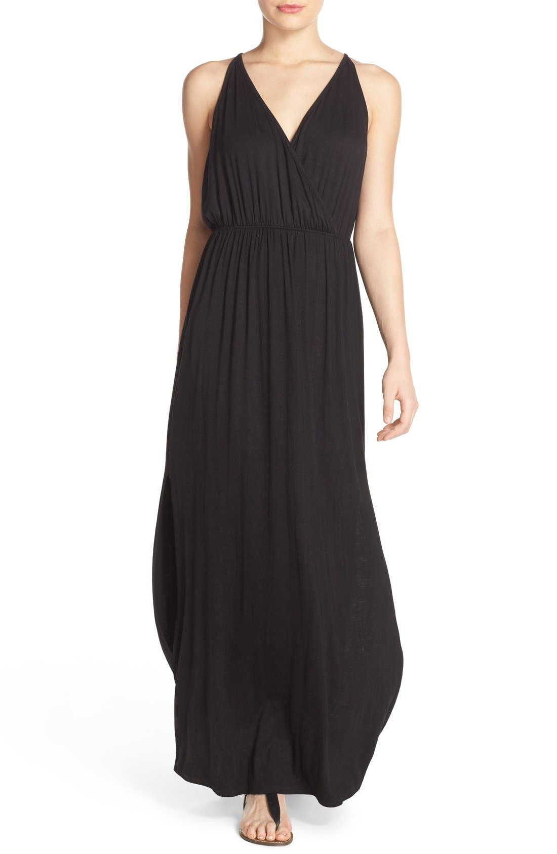Alternate Image 2  - Surf Gypsy Crochet Back Jersey Cover-Up Maxi Dress