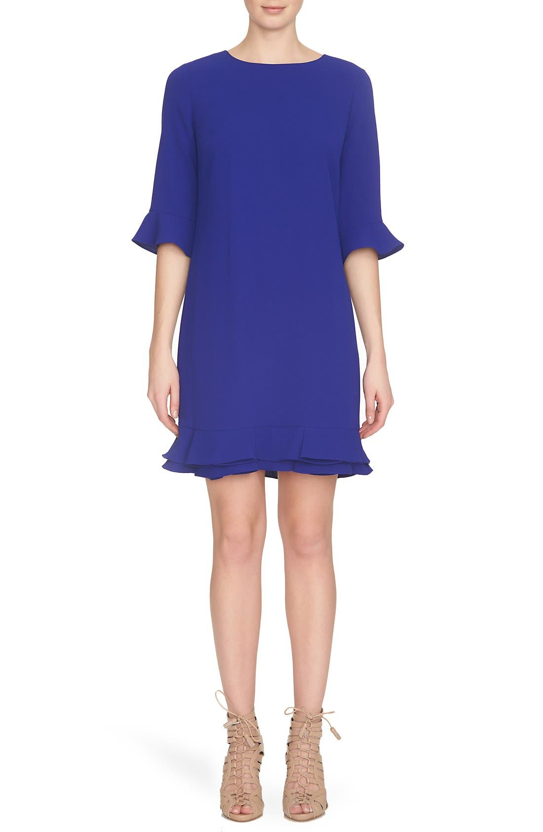 Main Image - CeCe 'Kate' Ruffle Hem Shift Dress (Regular & Petite)