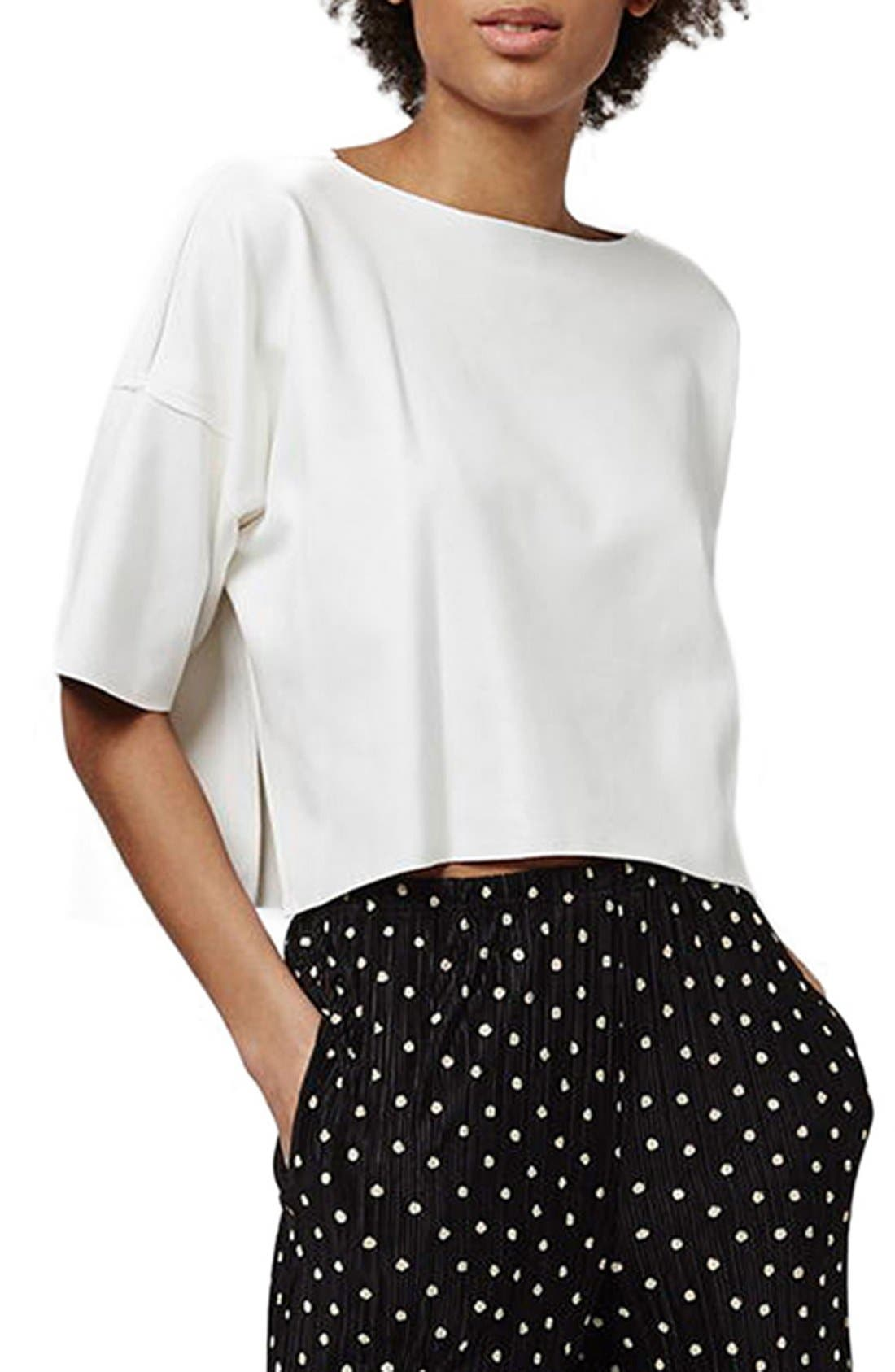 Alternate Image 1 Selected - Topshop Suedette Oversize Crop Tee