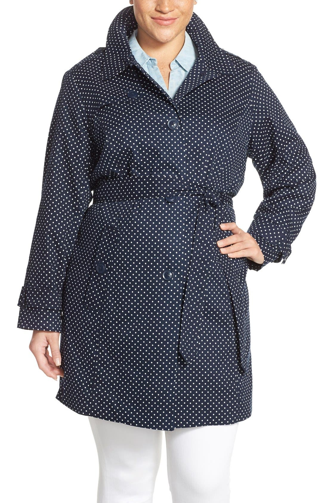 London Fog Polka Dot Single Breasted Trench Coat (Plus Size)