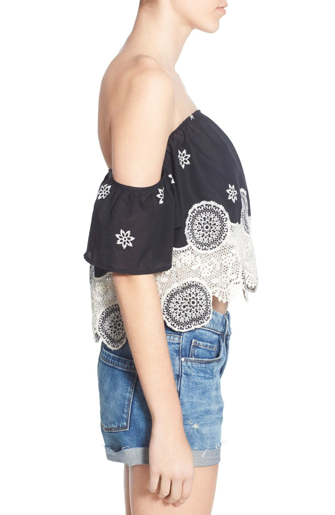 Alternate Image 3  - 4SI3NNA Lace Off the Shoulder Crop Top