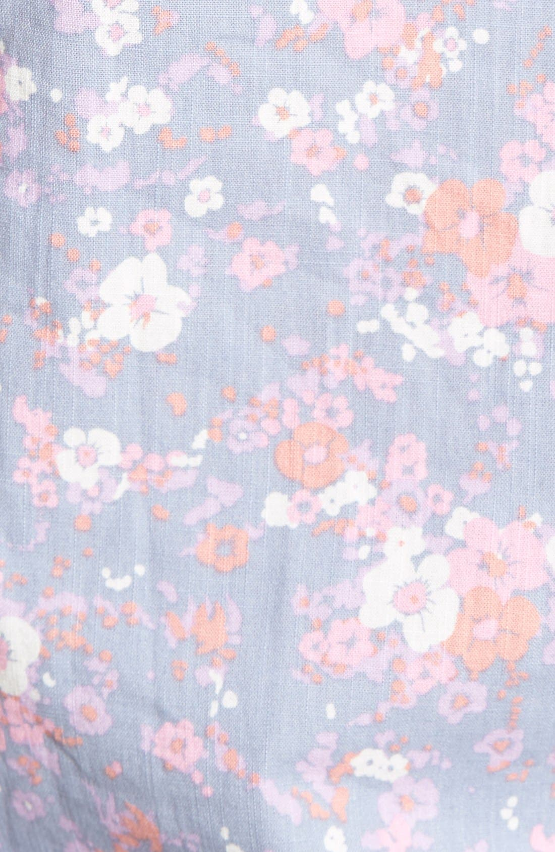 Alternate Image 5  - 1901 'Gifford' Trim Fit Short Sleeve Floral Print Chambray Shirt