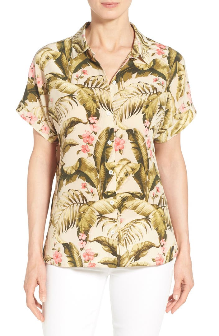 Tommy bahama 39 beau jardin 39 print silk boyfriend shirt for Beau jardin
