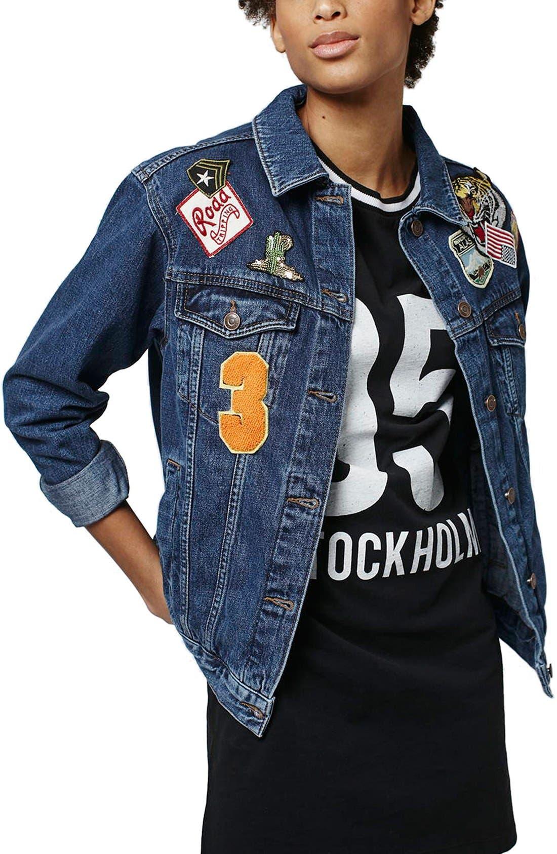 Alternate Image 1 Selected - Topshop Patch Oversize Denim Jacket