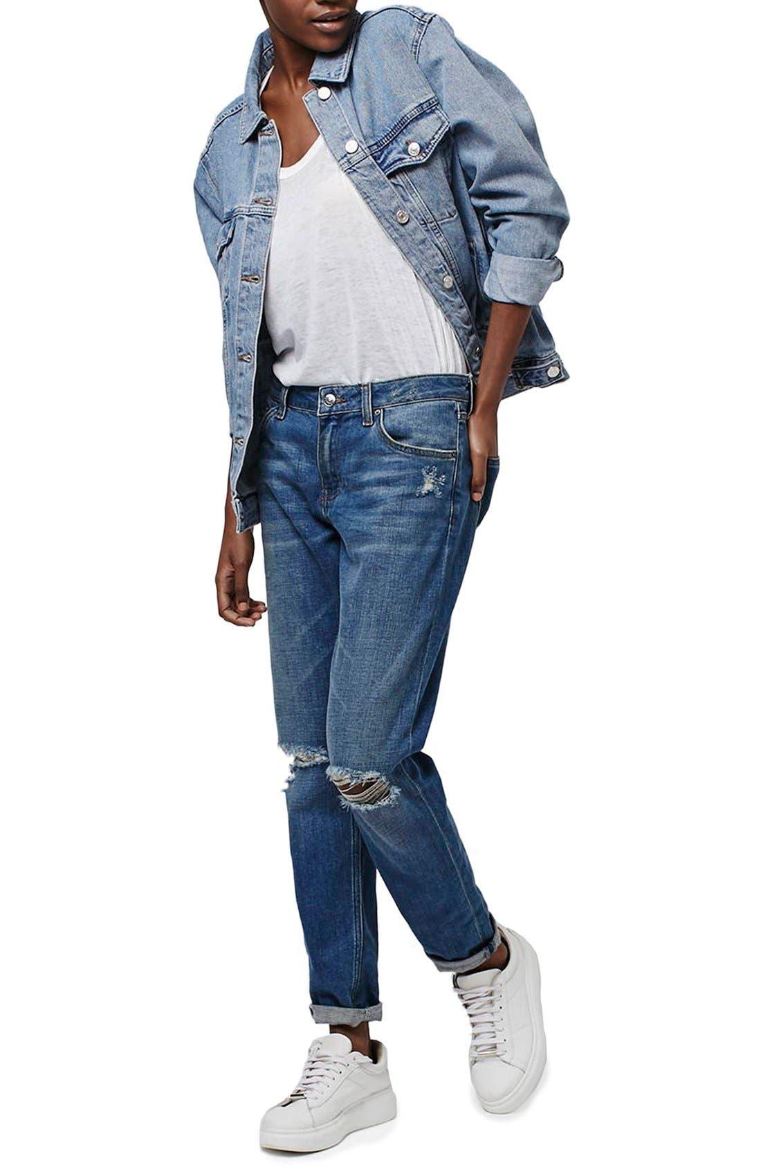 Alternate Image 1 Selected - Topshop Oversize Denim Jacket (Regular & Petite)