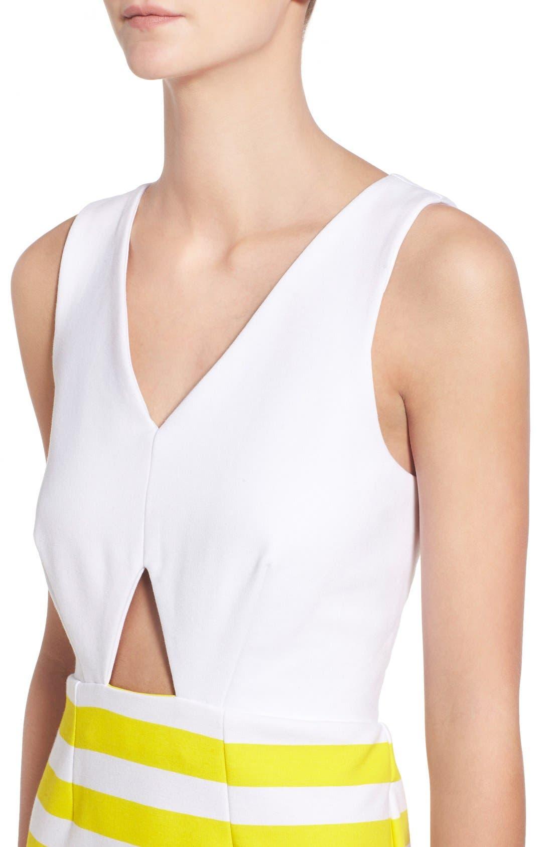Alternate Image 4  - Amour Vert 'Amber' Stripe Cutout Body-Con Dress