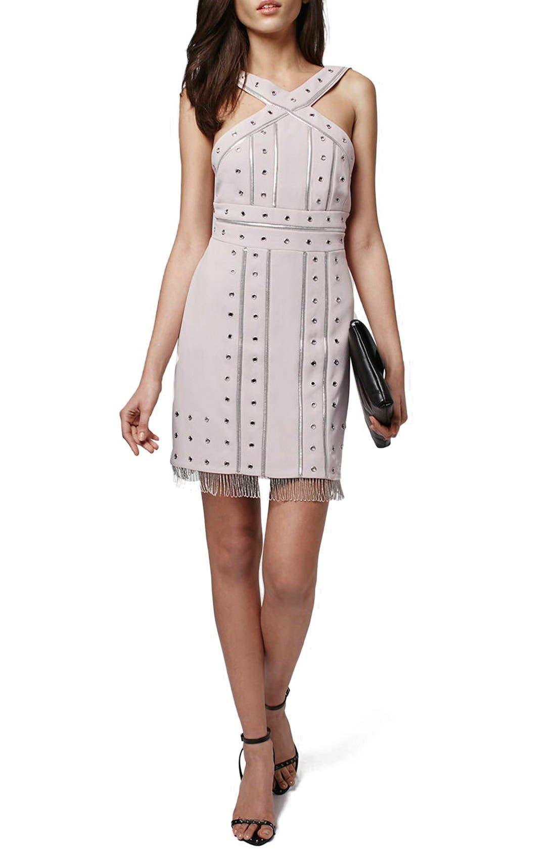 Main Image - Topshop Metal Trimmed Fringe Body-Con Dress