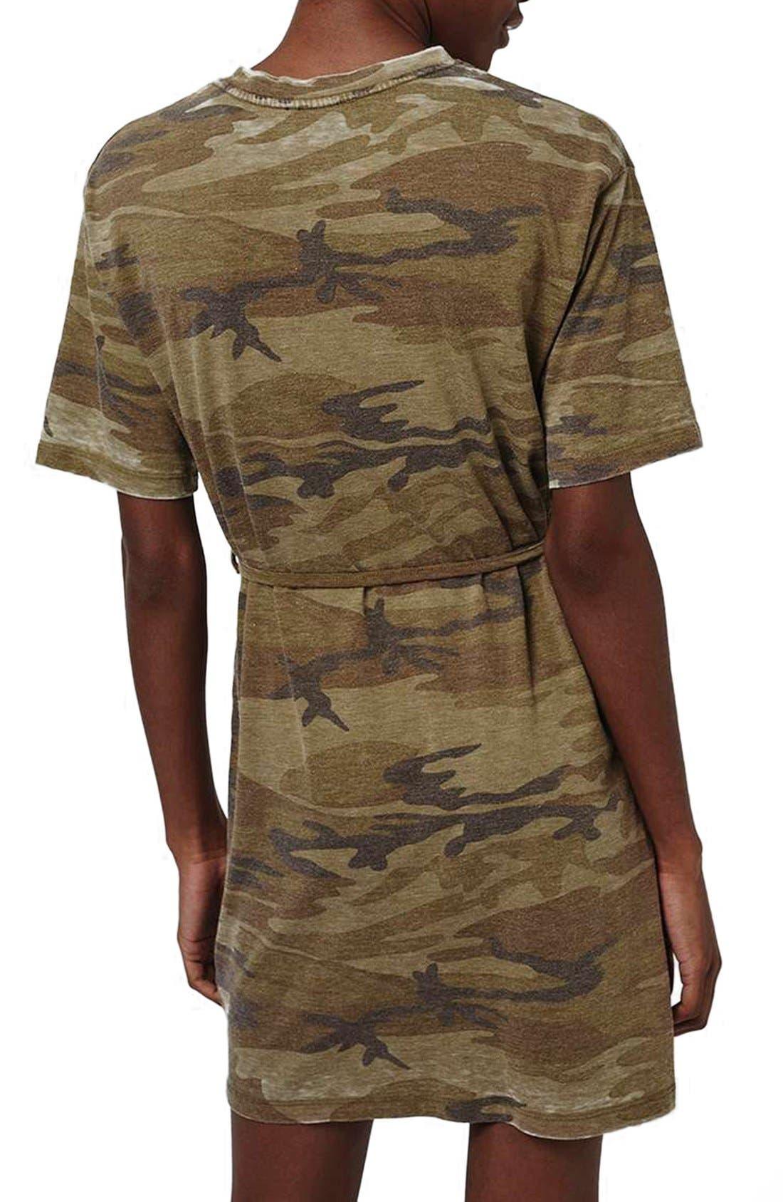 Alternate Image 2  - Topshop Belted Camo Print T-Shirt Dress