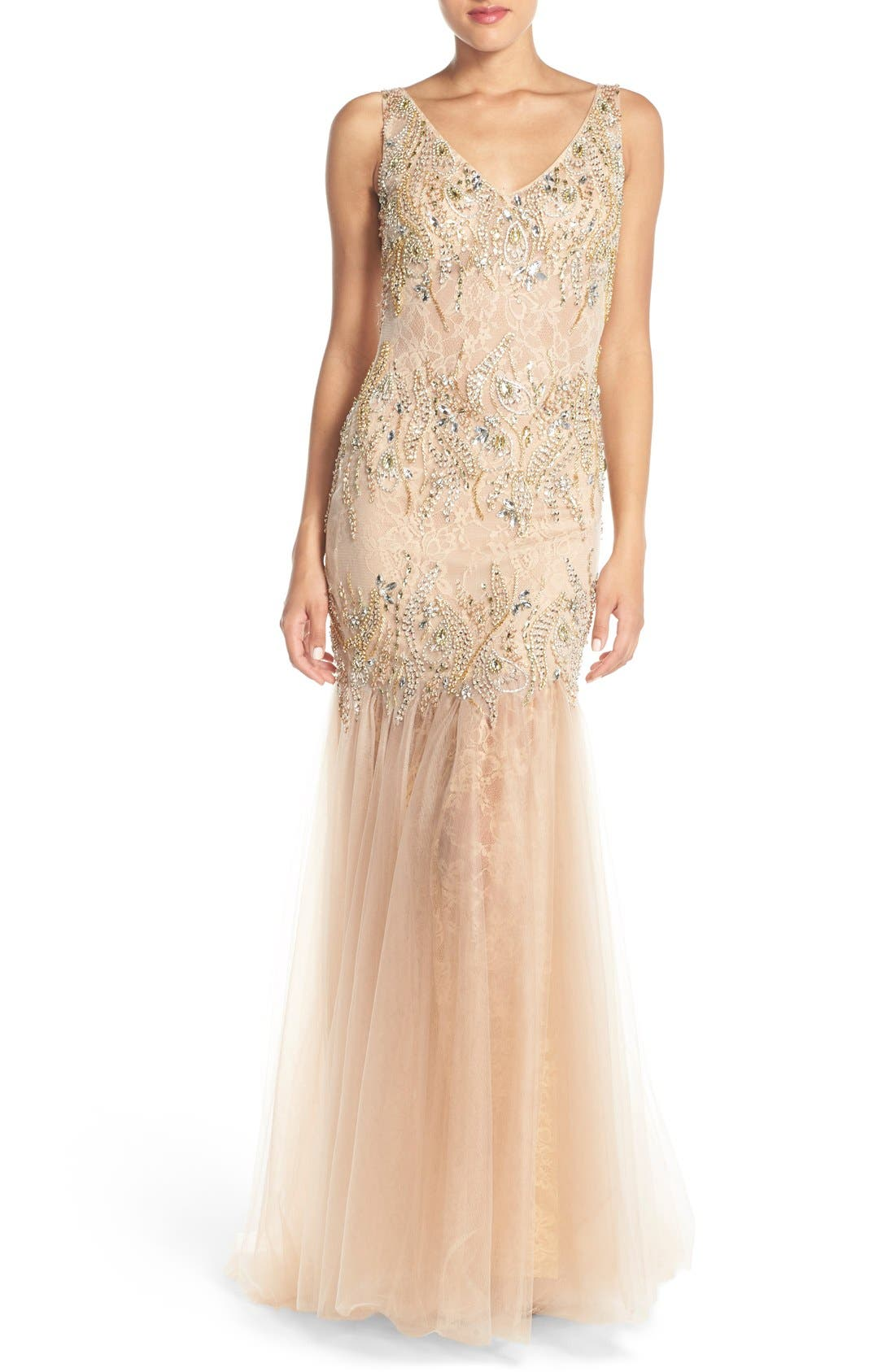 Alternate Image 1 Selected - Terani Couture Embellished Lace Mermaid Gown