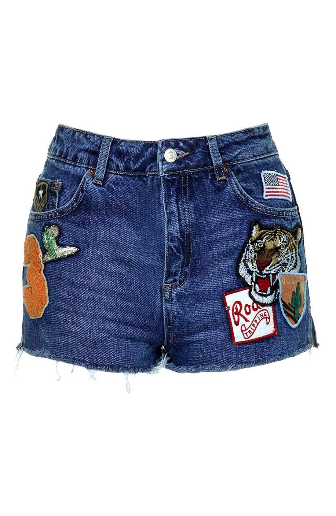 Alternate Image 4  - Topshop Patch Raw Hem High Rise Jean Shorts (Petite)