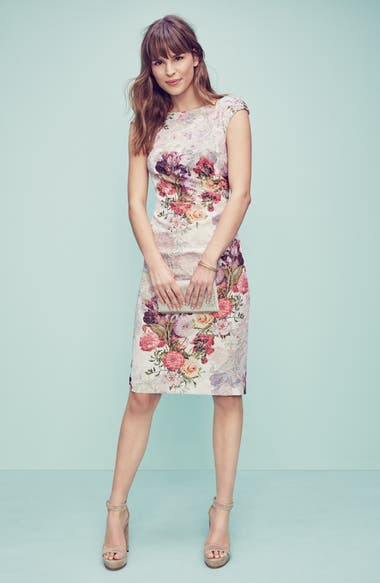 bd12e52e Adrianna Papell Embellished Ruched Metallic Jacquard Sheath Dress |  Nordstrom