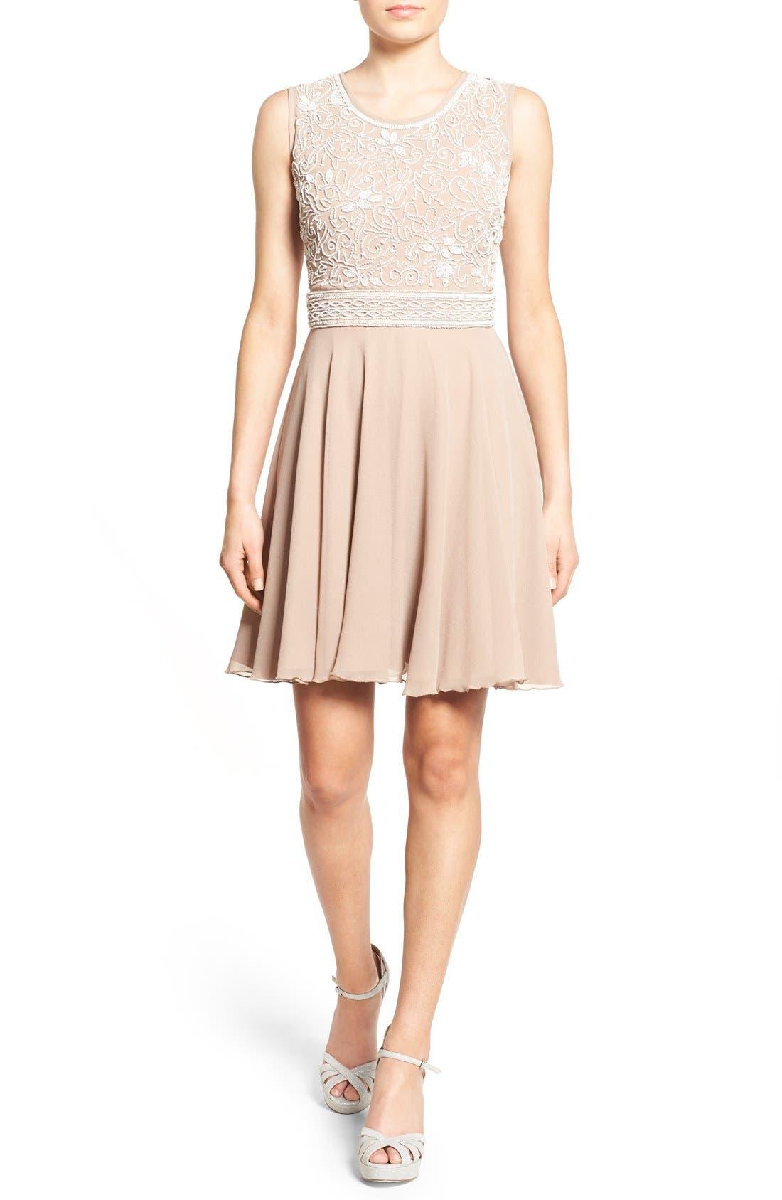 Alternate Image 1 Selected - Lace & Beads 'Lola' Embellished Skater Dress