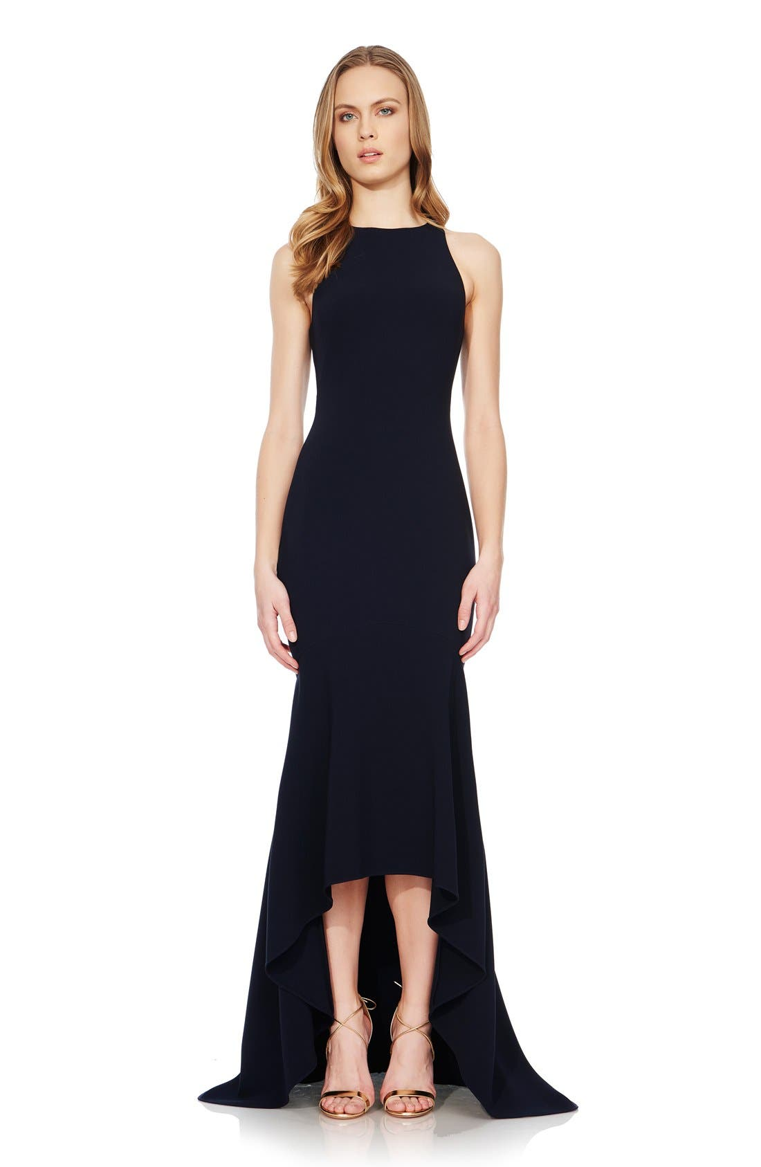 Main Image - Theia High/Low Stretch Crepe Gown