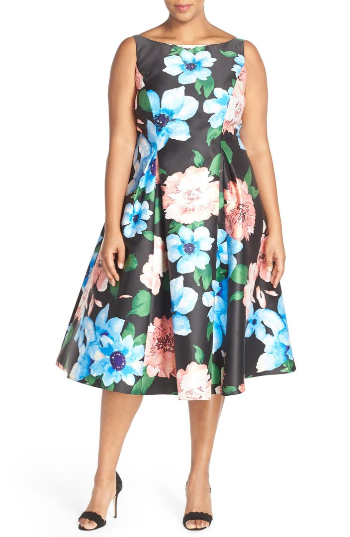 Adrianna Papell Floral Print Tea Length Dress Plus Size
