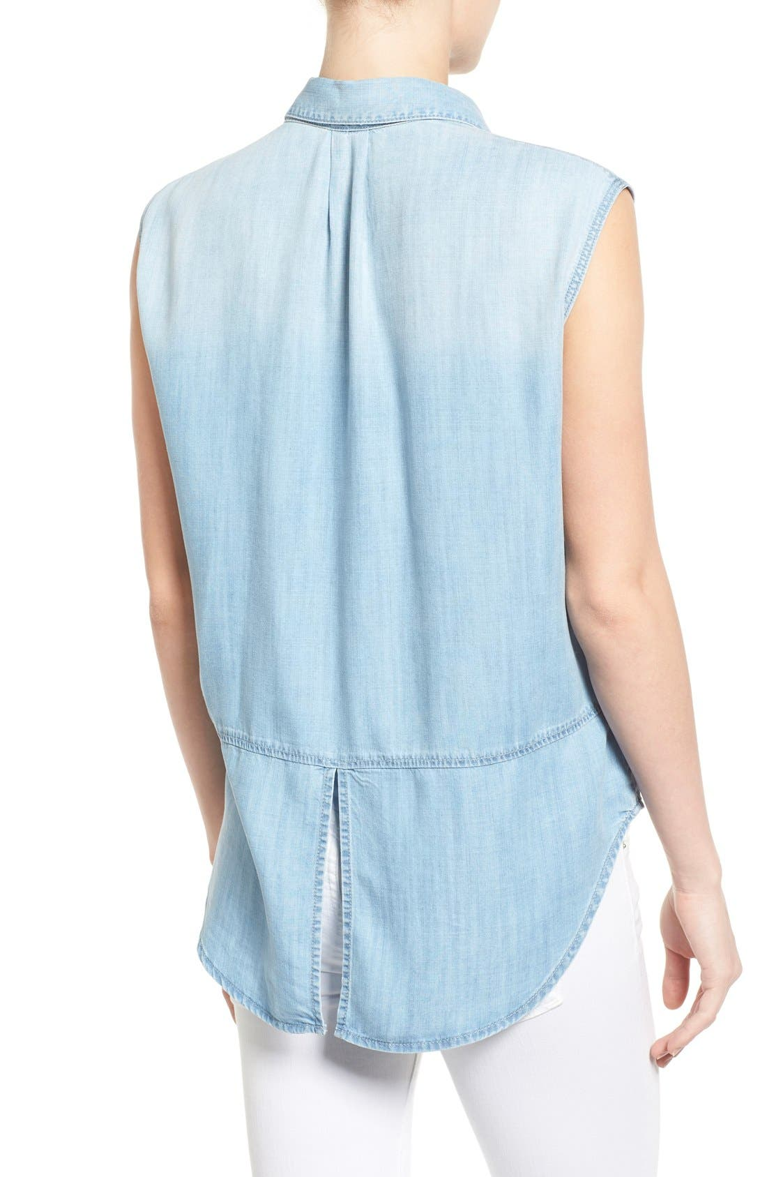 Alternate Image 2  - Mavi Jeans High/Low Lightweight Denim Shirt