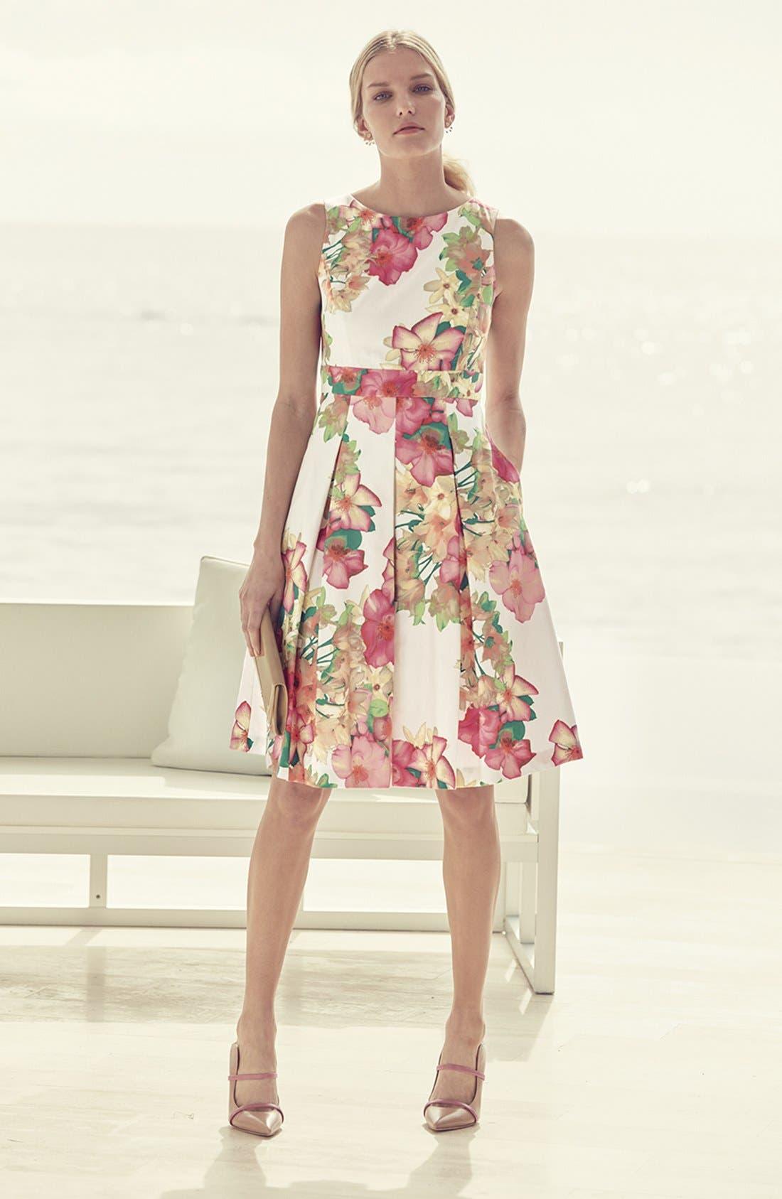 Alternate Image 6  - Eliza J Floral Print Fit & Flare Dress (Regular & Petite)