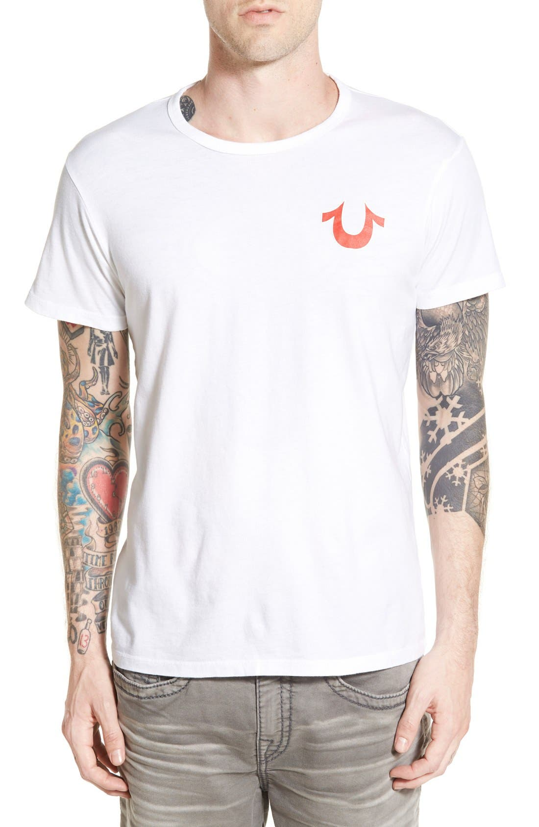 True Religion Brand Jeans 'Double Puff' Graphic Crewneck T-Shirt