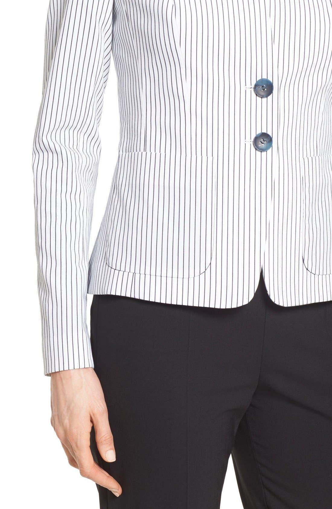 Alternate Image 4  - Nordstrom Collection 'City Stripe' Collarless Jacket