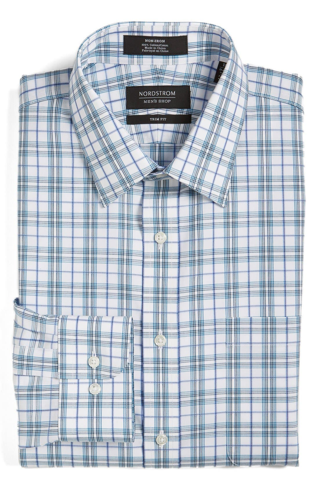 NORDSTROM MEN'S SHOP Trim Fit Non-Iron Check Dress