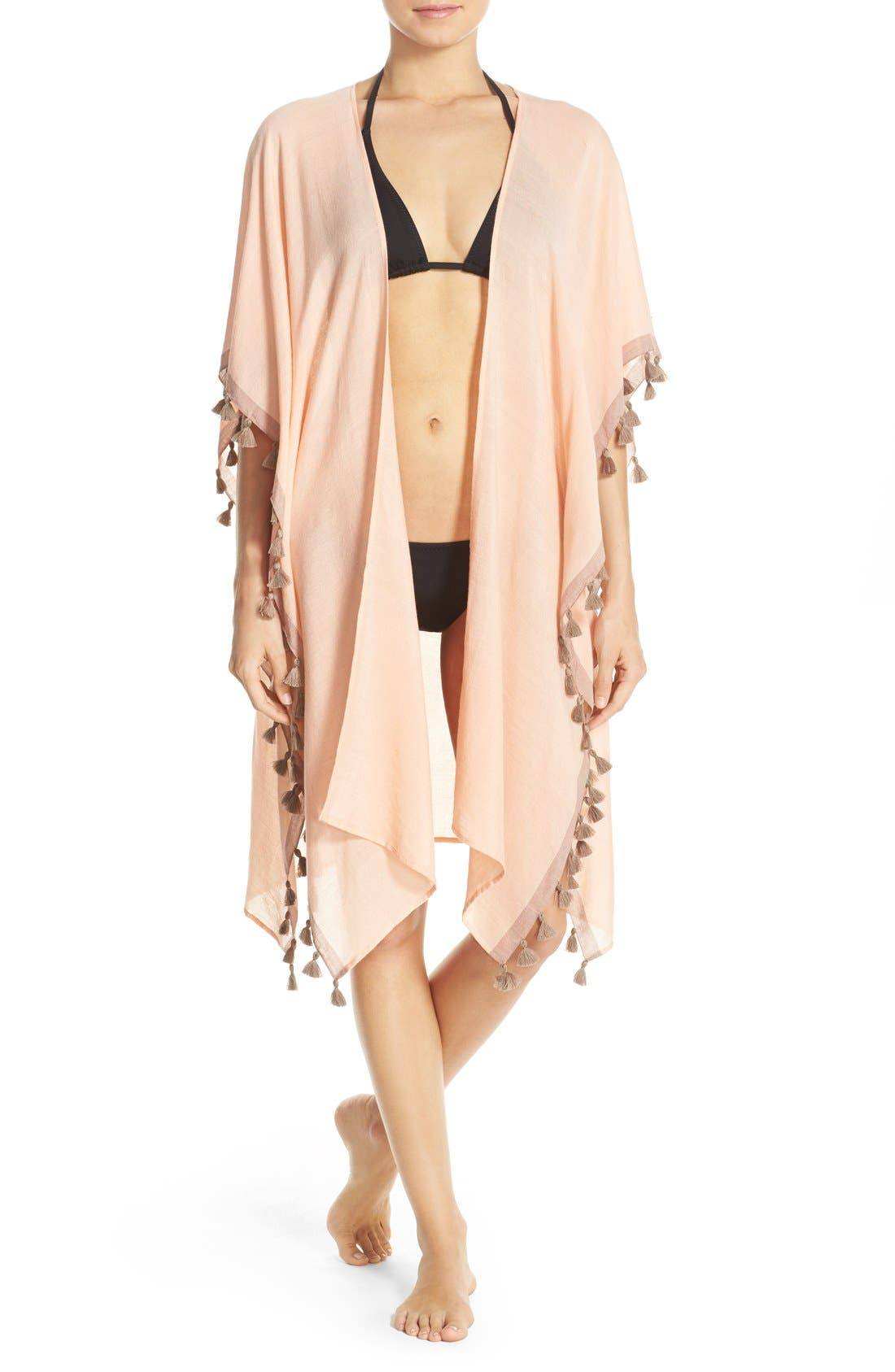 Alternate Image 1 Selected - ale BY ALESSANDRA 'Mother Earth' Tassel Trim Cover-Up Kimono