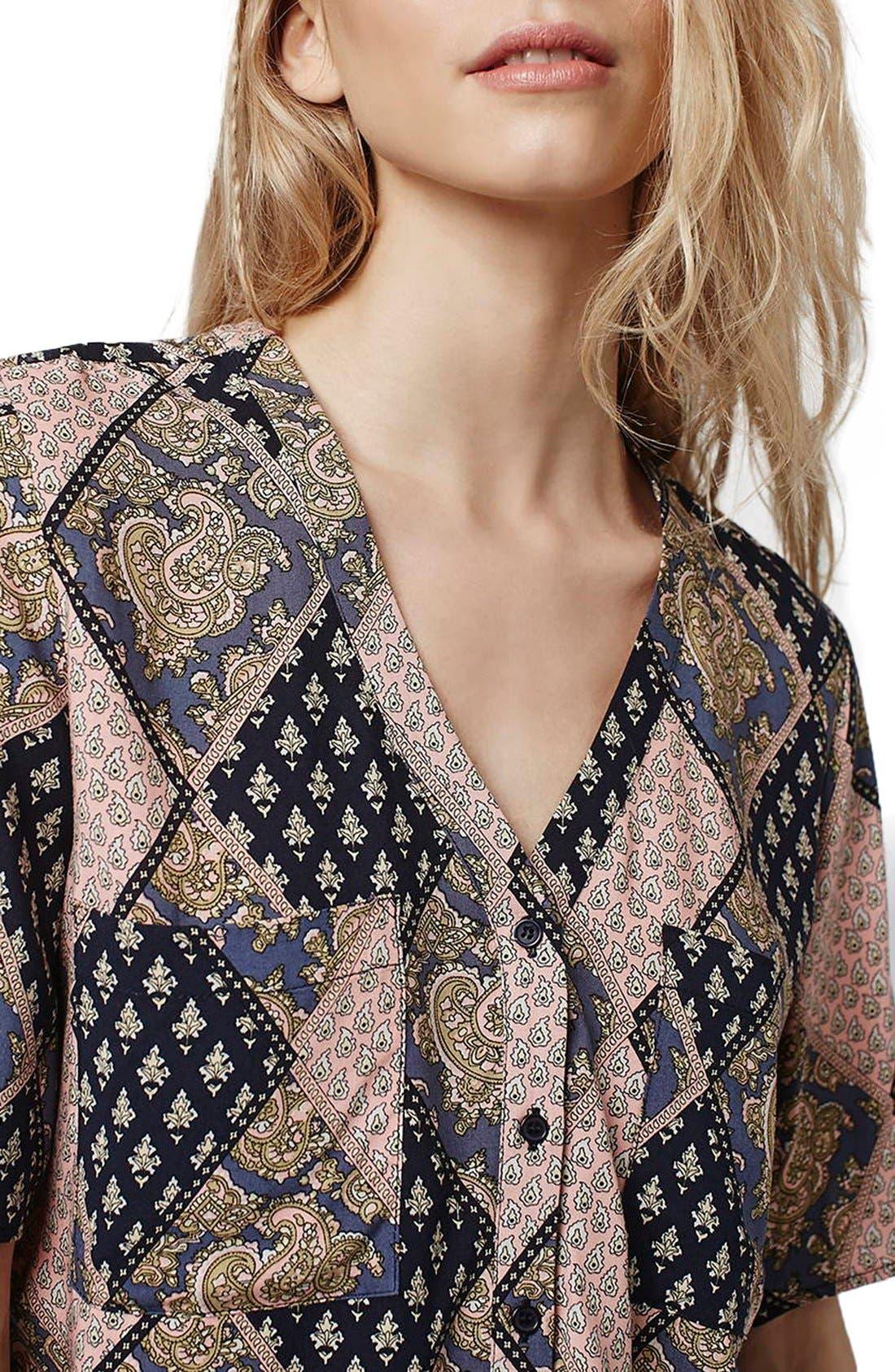 Alternate Image 5  - Topshop 'Holly' Tile Print Shirt