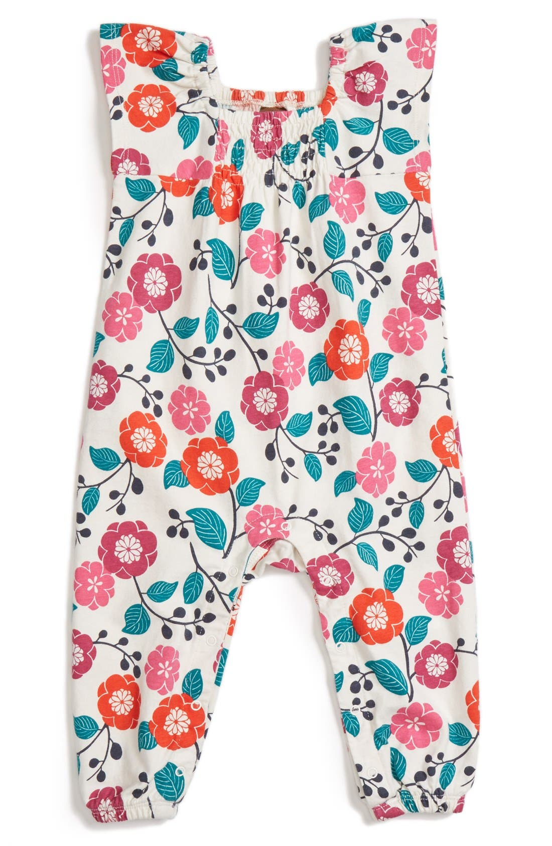 Main Image - Tea Collection 'Lyrical Floral' Sleeveless Romper (Baby Girls)