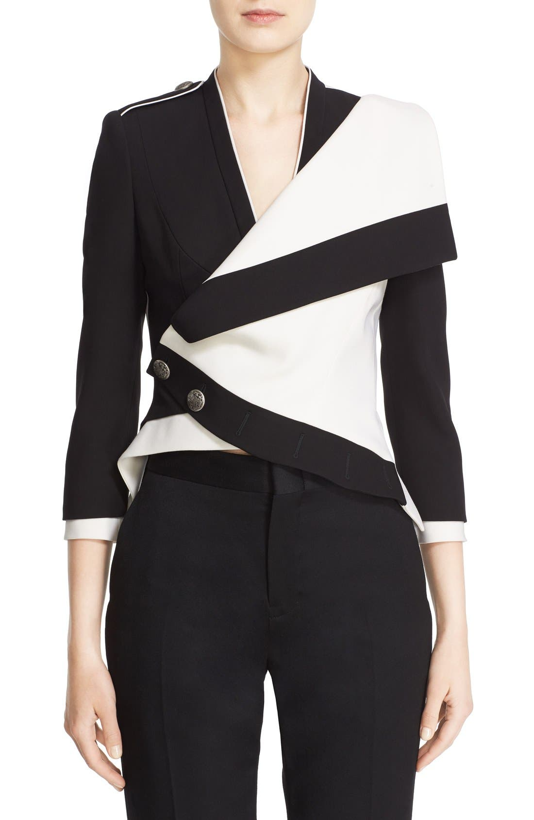 Alternate Image 1 Selected - Alexander McQueen Two-Tone Drape Front Military Jacket