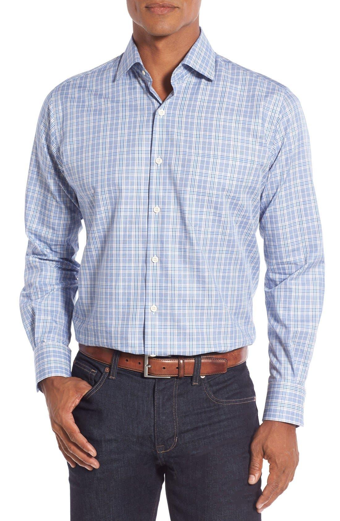 Main Image - Peter Millar Regular Fit Glen Plaid Sport Shirt