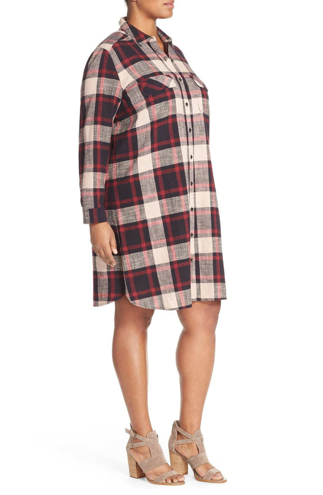Alternate Image 3  - Caslon® Two-Pocket Plaid Shirtdress (Plus Size)