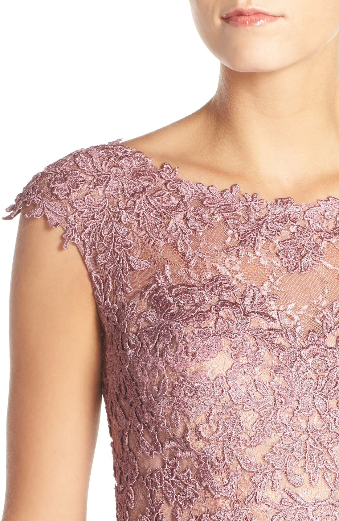 Alternate Image 4  - La Femme Lace & Tulle Mermaid Gown
