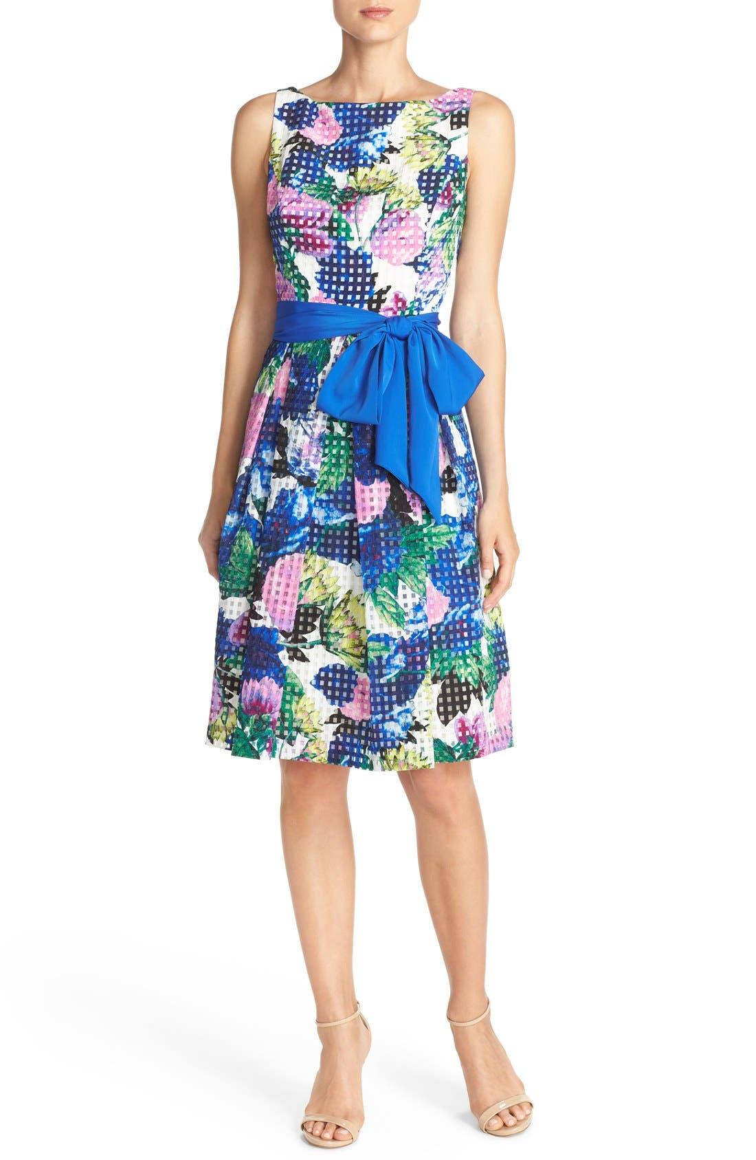 Alternate Image 4  - Eliza J Floral Check Organza Fit & Flare Dress