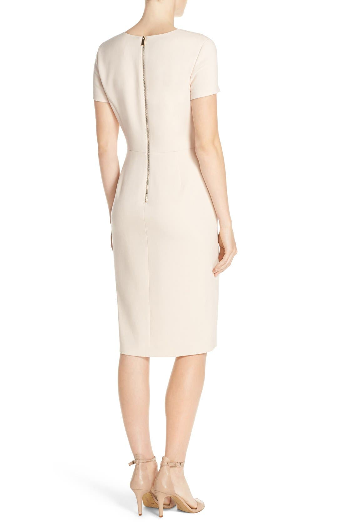 Alternate Image 2  - Vince Camuto Asymmetrical Crepe Sheath Dress (Regular & Petite)