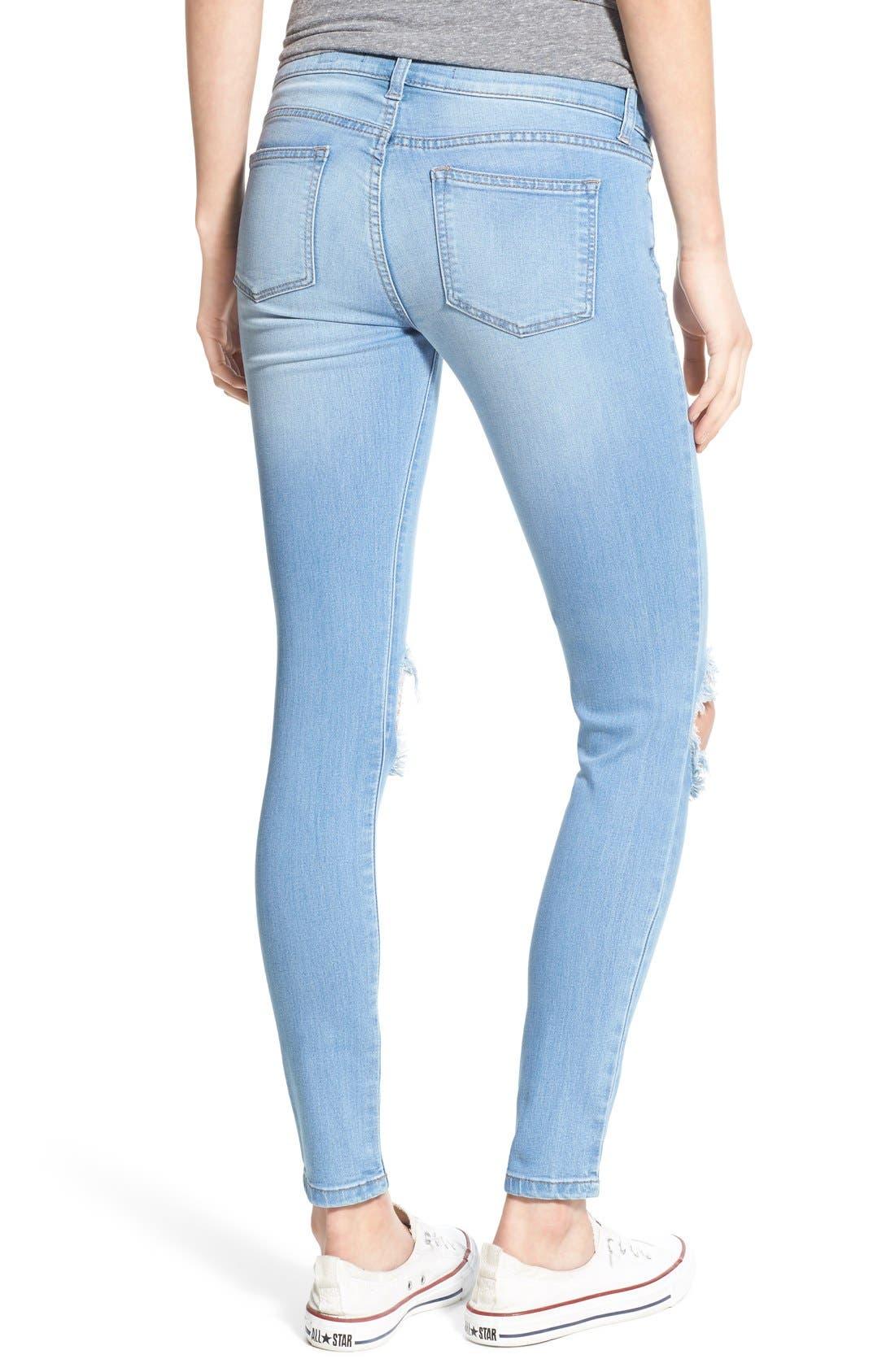 Alternate Image 2  - SP Black Destroyed Skinny Jeans