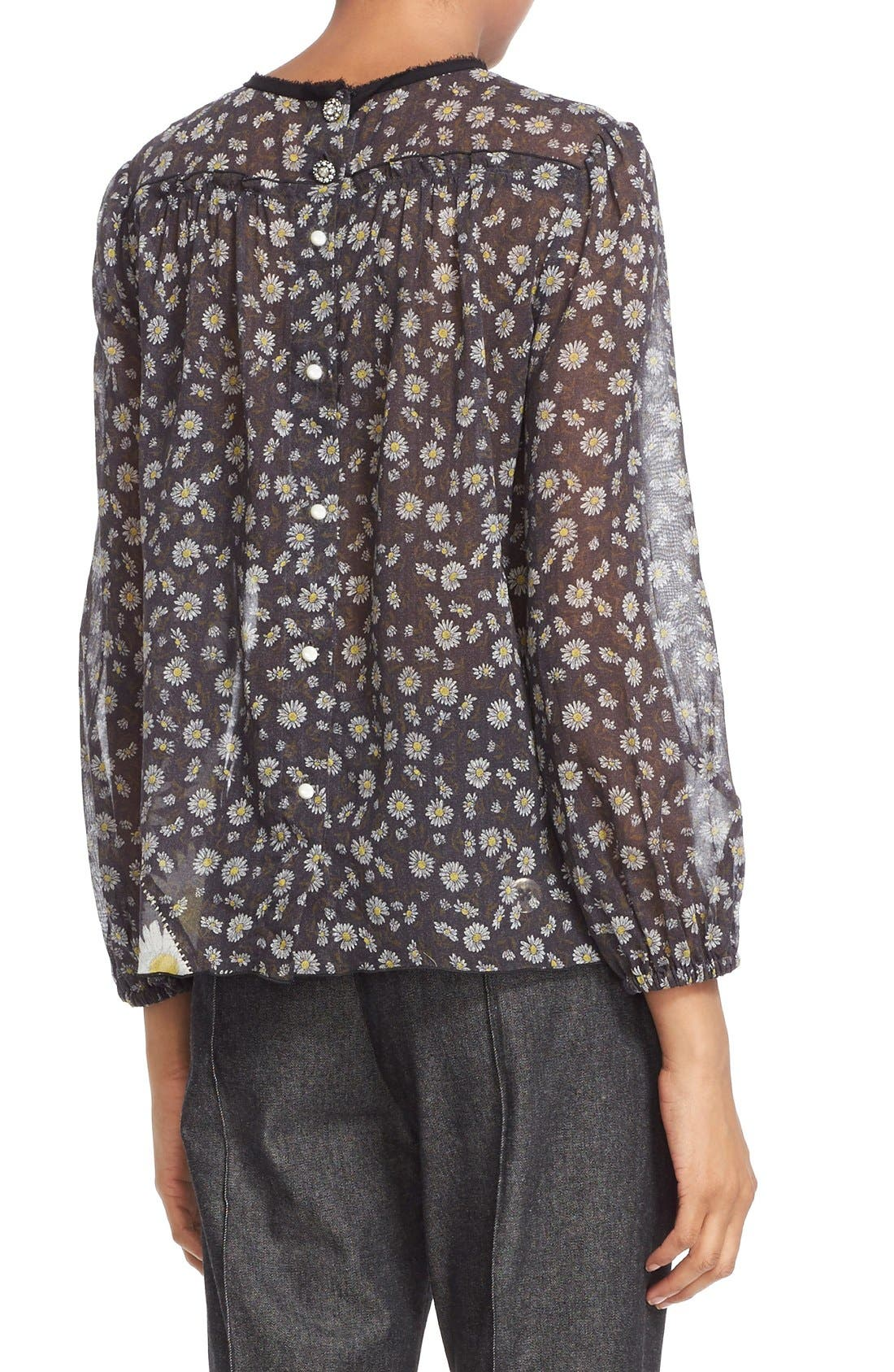 Alternate Image 2  - MARC JACOBS Daisy Print Sheer Tie Neck Peasant Blouse