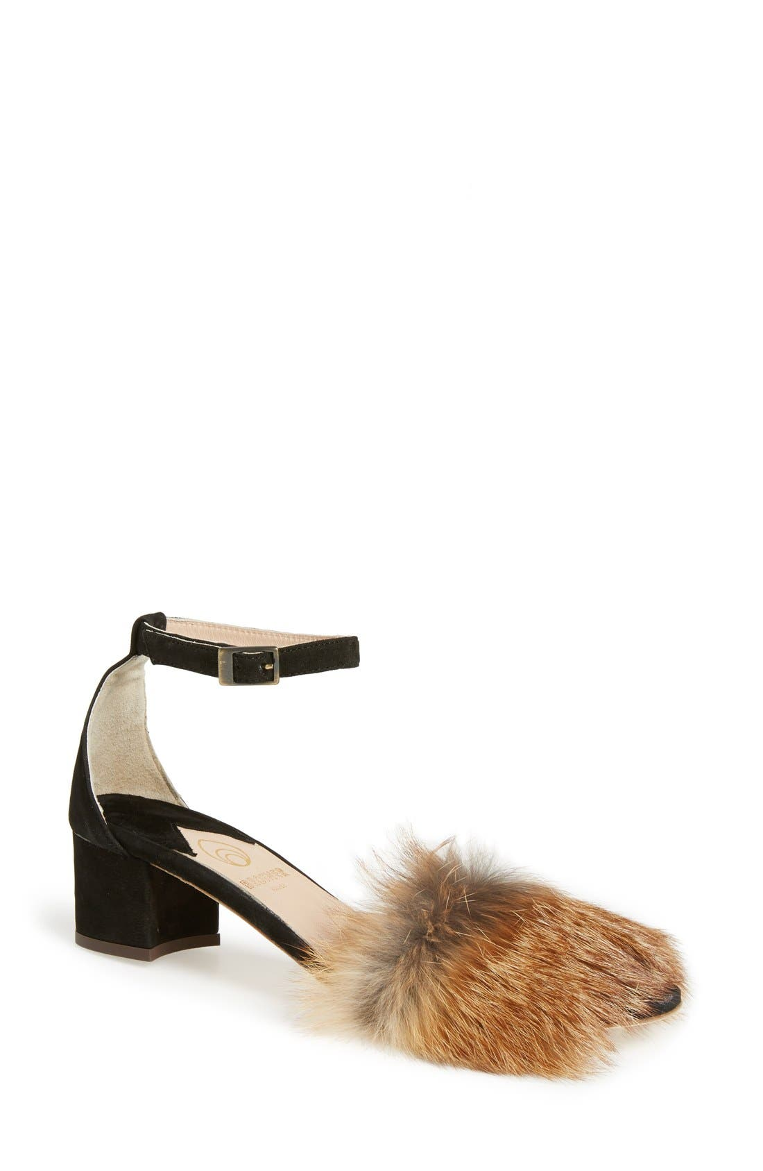 BROTHER VELLIES 'Dhara' Genuine Fox Fur Ankle Strap